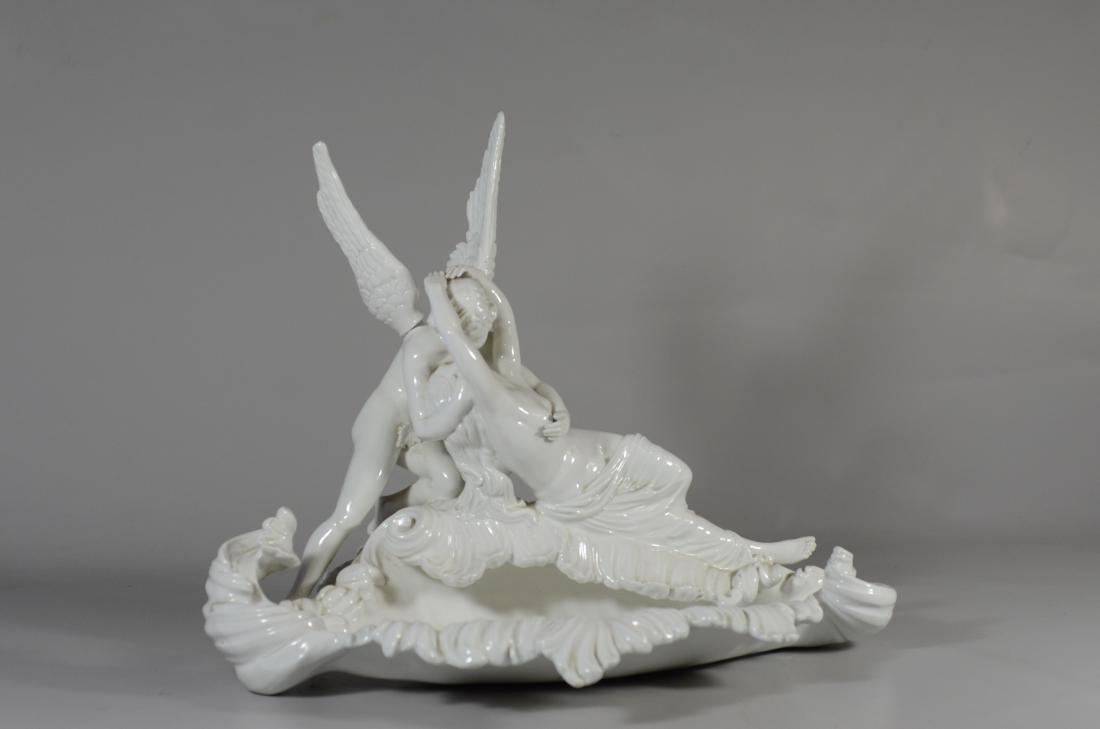 Italian white glazed pottery allegorical bowl of 'Cu