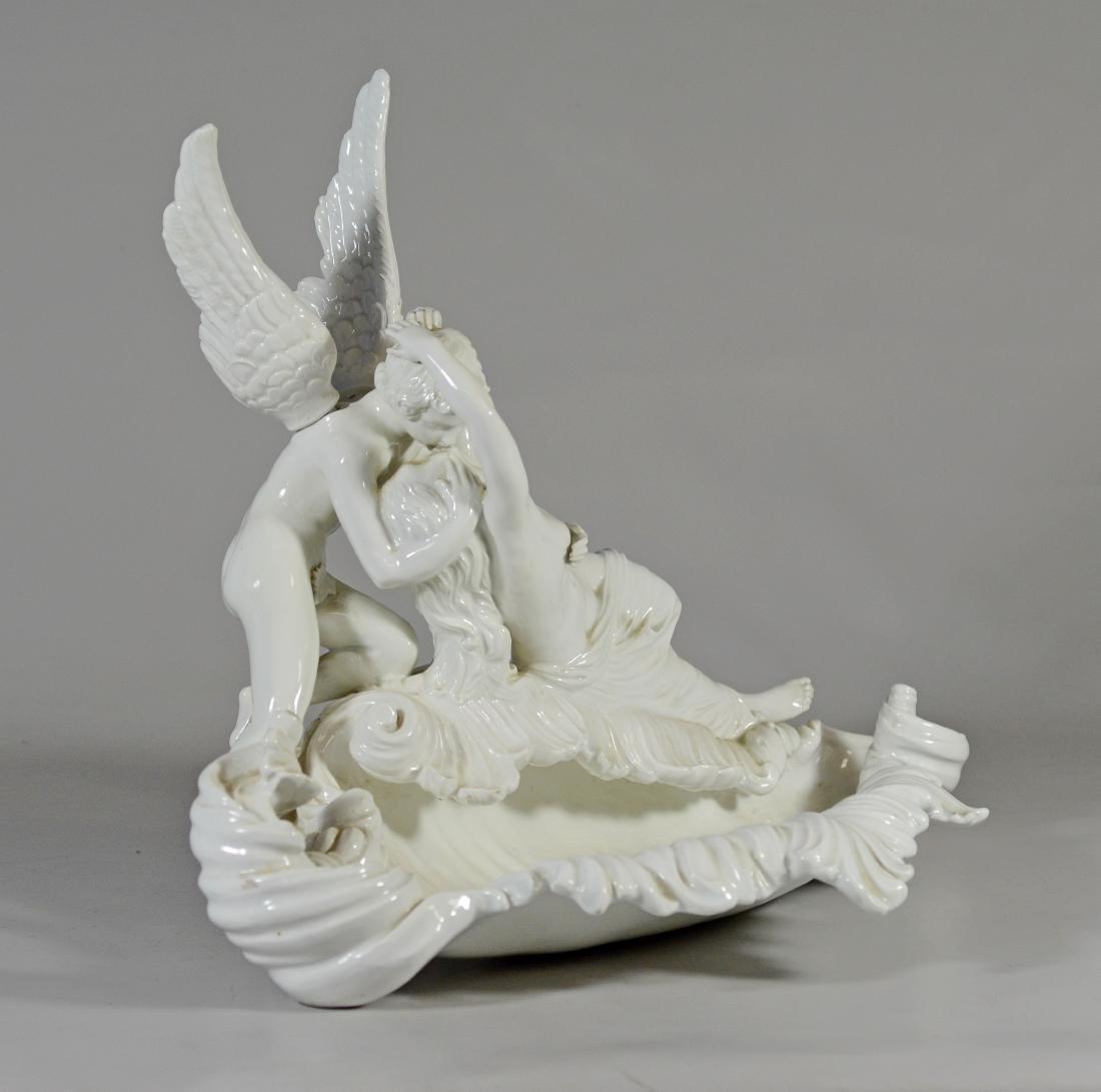 Italian white glazed pottery allegorical bowl of 'Cu - 3