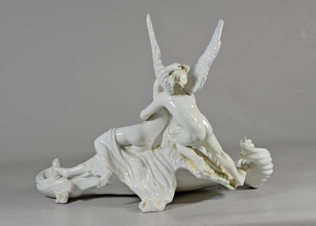 Italian white glazed pottery allegorical bowl of 'Cu - 4