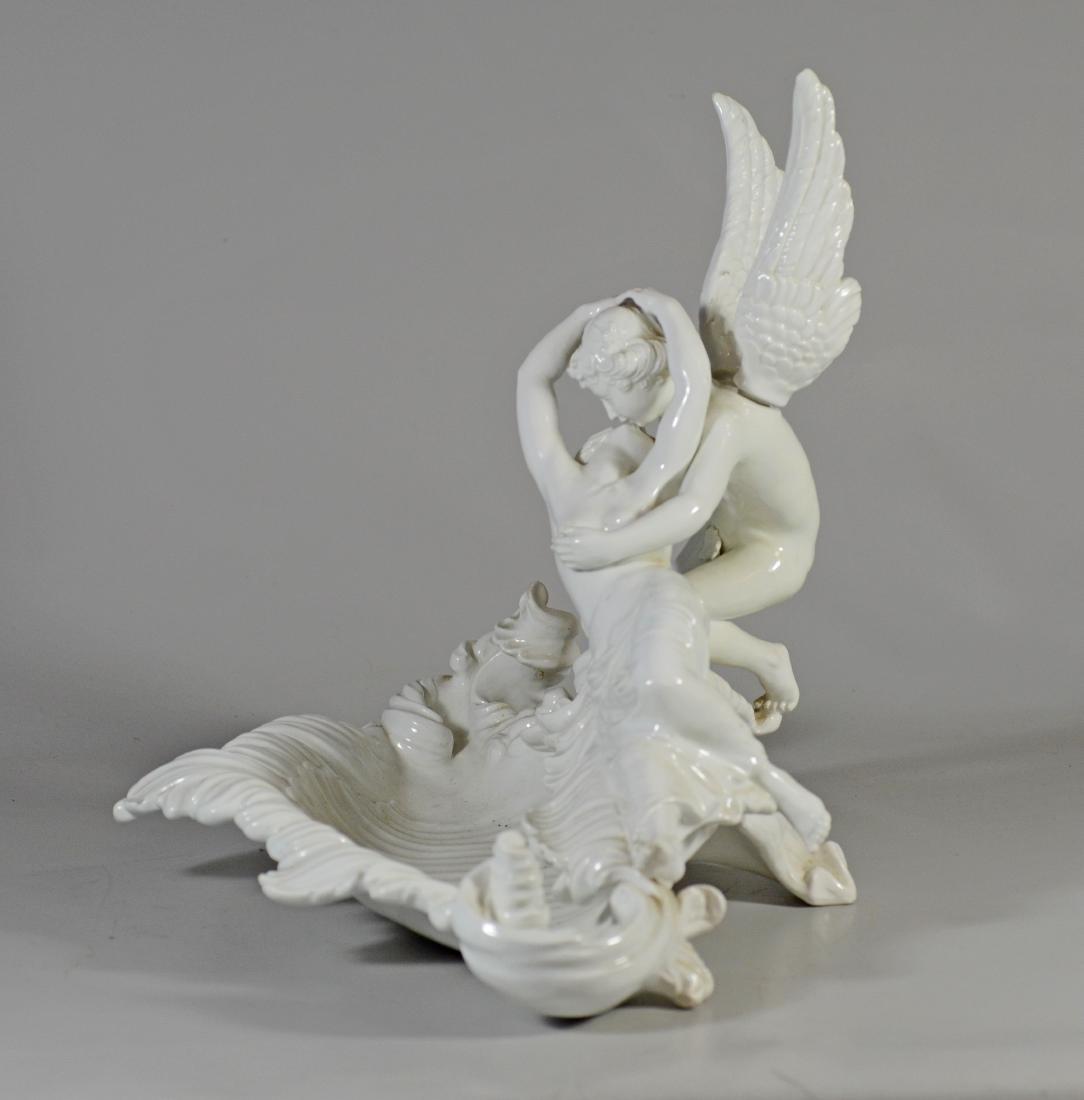 Italian white glazed pottery allegorical bowl of 'Cu - 5