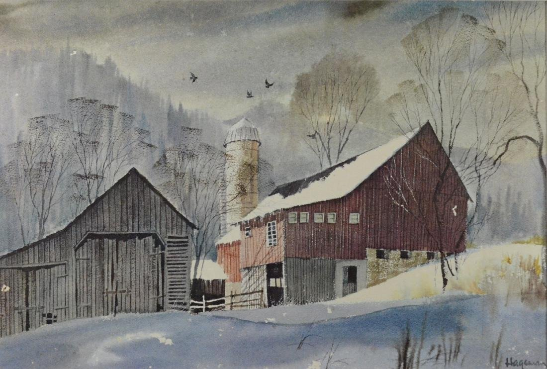 M Hageman, watercolor, Barn in a Snowy Landscape