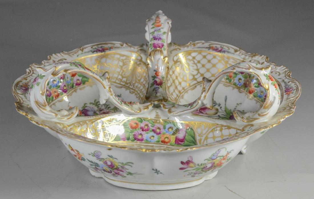 Dresden porcelain floral decorated trefoil dish