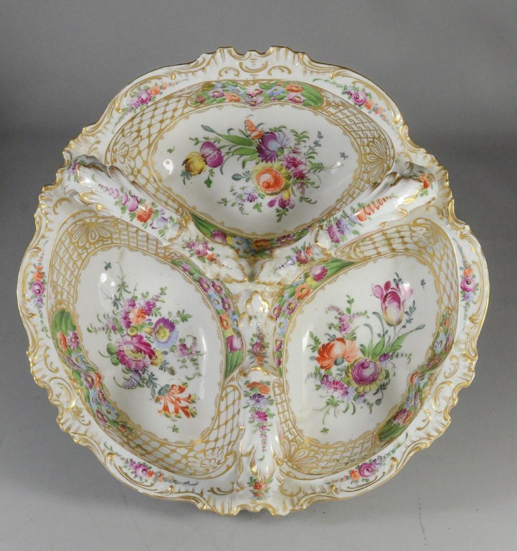 Dresden porcelain floral decorated trefoil dish - 2