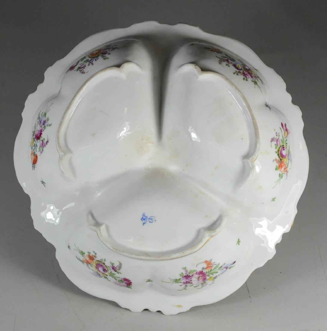 Dresden porcelain floral decorated trefoil dish - 3