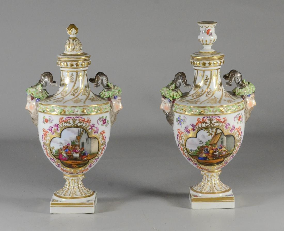 Pair of Dresden porcelain cassoulets, Helena Wolfsohn