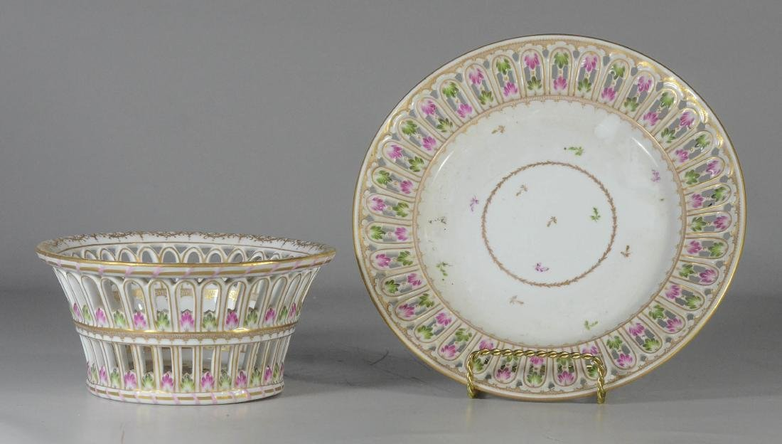 Dresden porcelain round fruit basket and stand