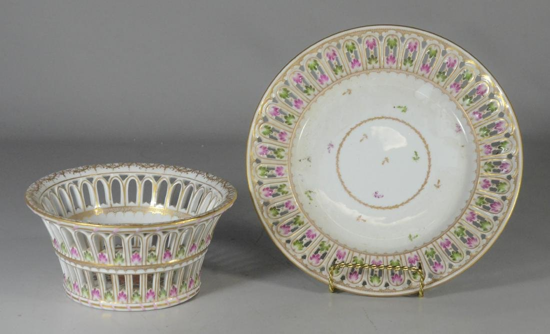 Dresden porcelain round fruit basket and stand - 2