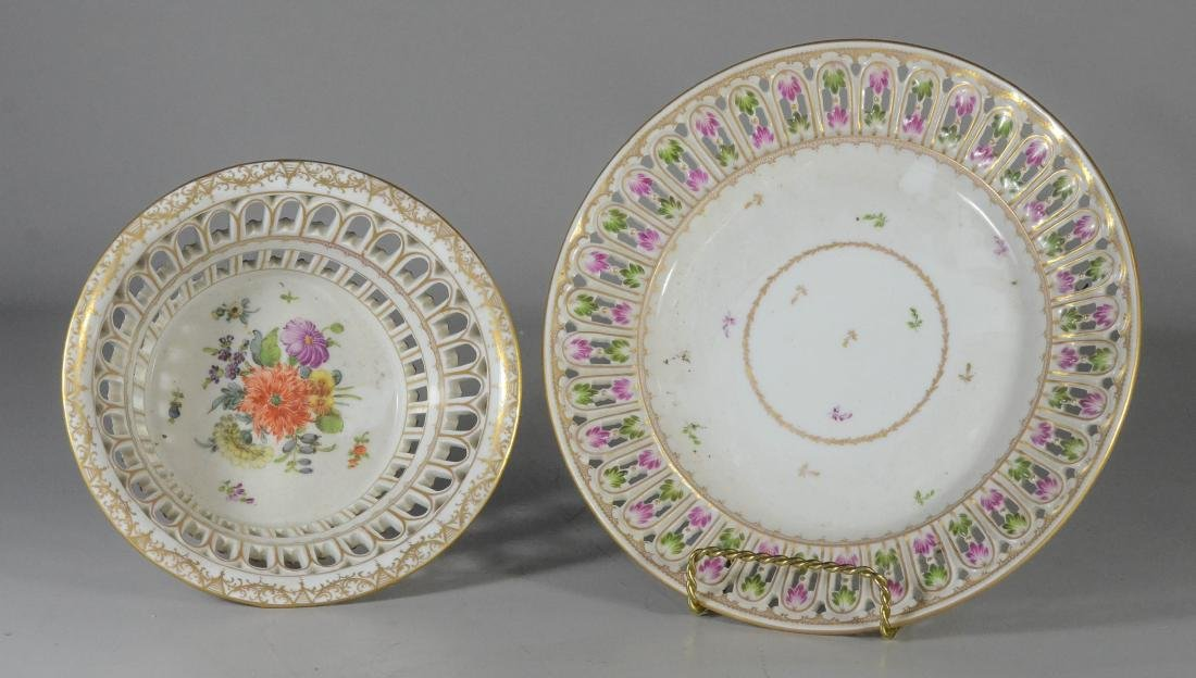 Dresden porcelain round fruit basket and stand - 3