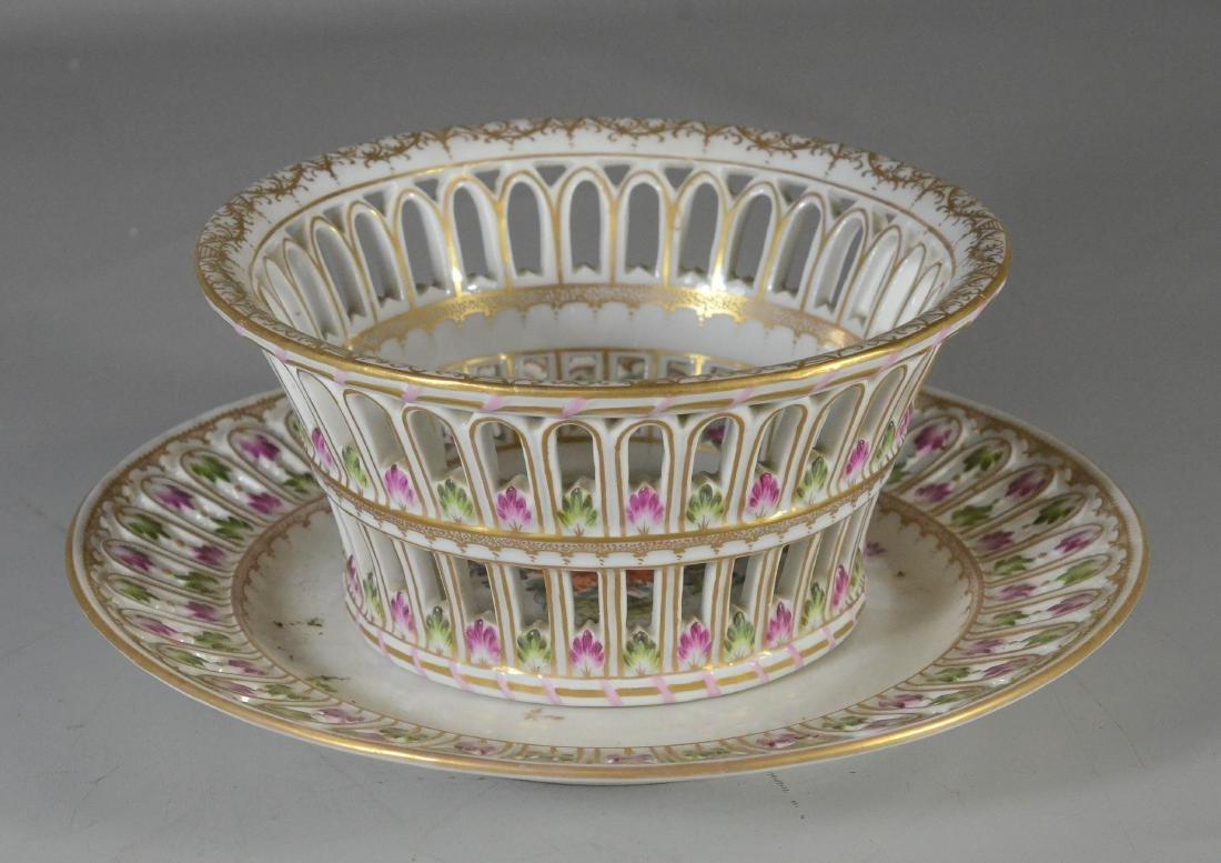 Dresden porcelain round fruit basket and stand - 4