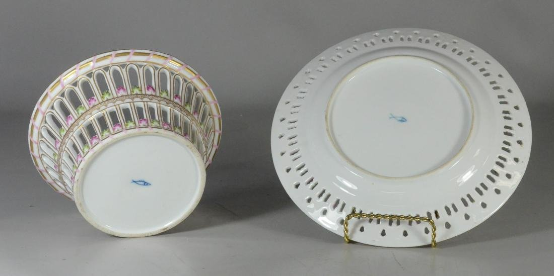 Dresden porcelain round fruit basket and stand - 5