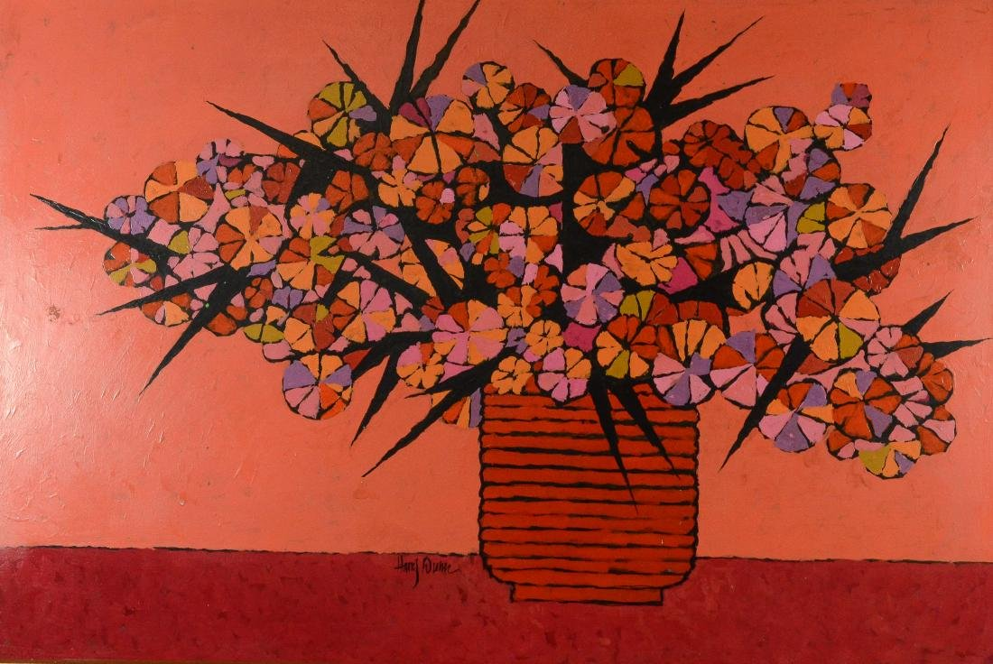 Harry Dunn, acrylic on masonite floral still life