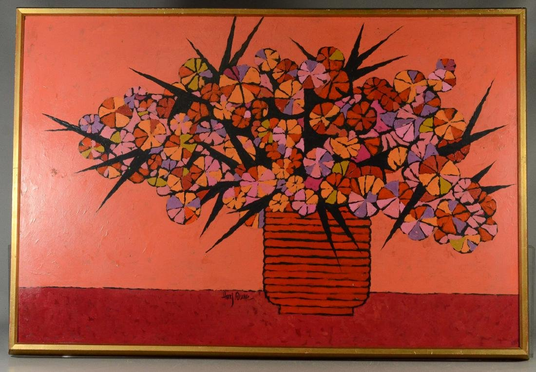 Harry Dunn, acrylic on masonite floral still life - 2