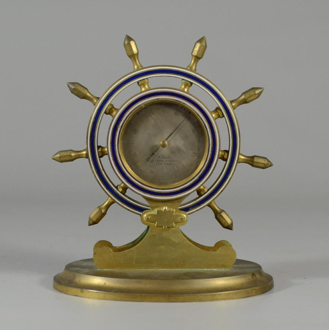 """Brass ships wheel barometer, dial marked """"P Galle"""