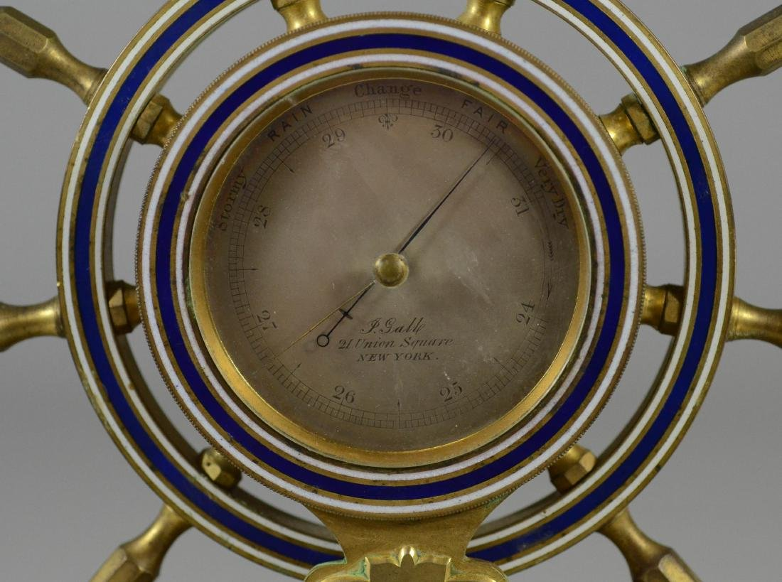 """Brass ships wheel barometer, dial marked """"P Galle - 3"""