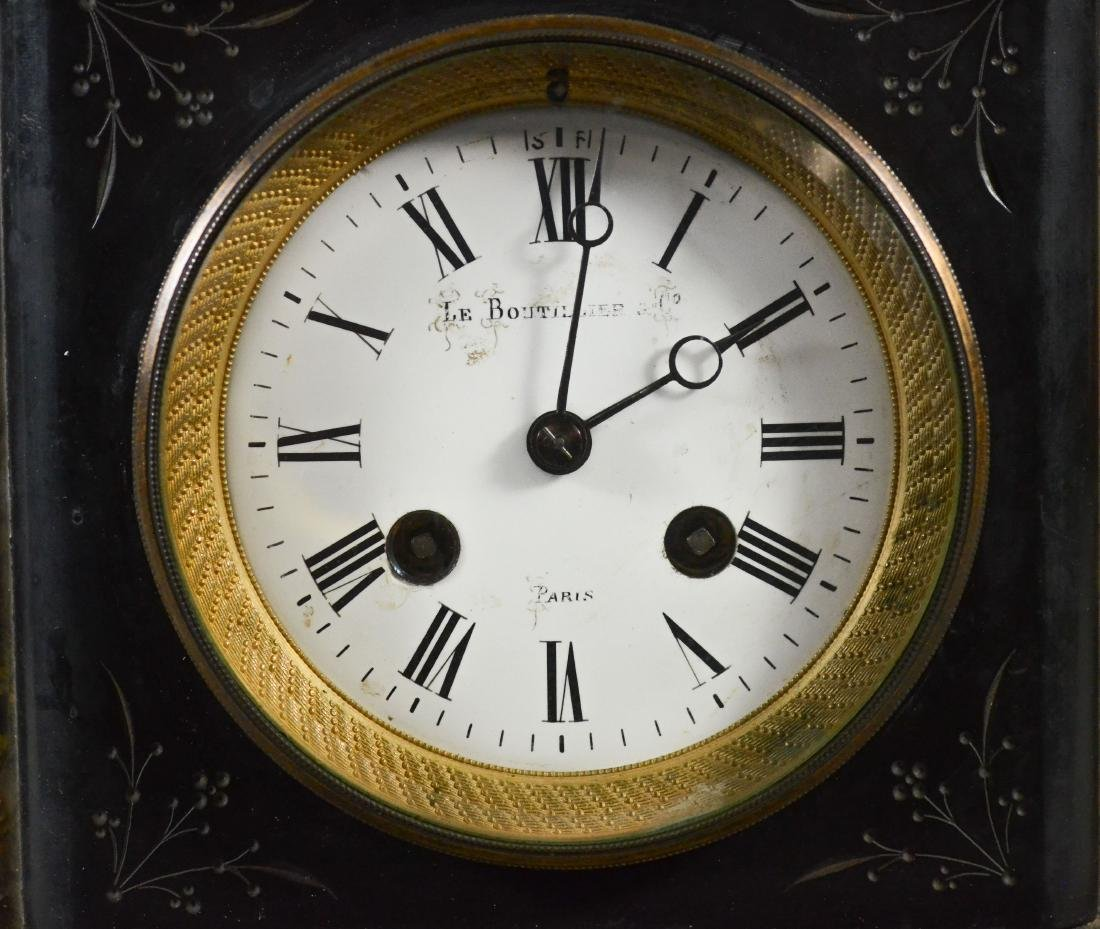 French Black Marble mantle clock - 2