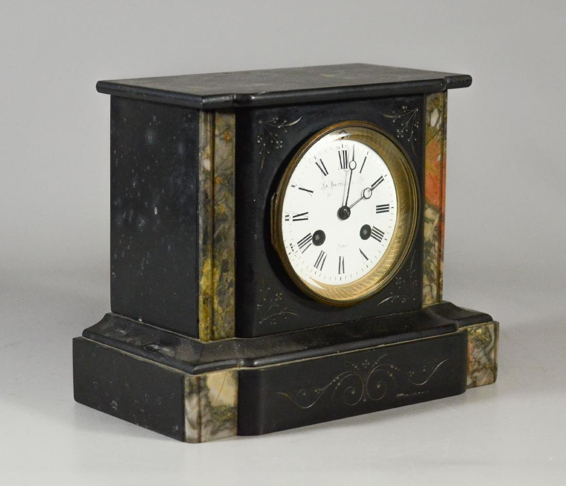 French Black Marble mantle clock - 3