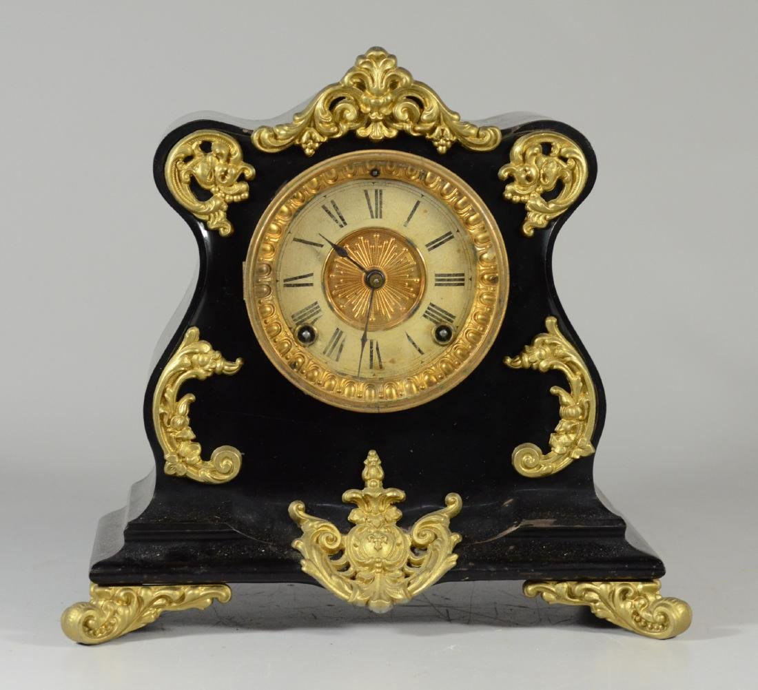 Ansonia black iron French style mantle clock