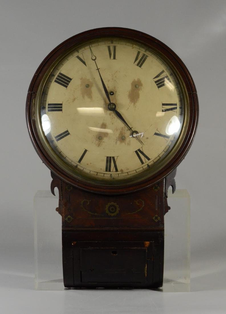 Brass inlaid mahogany Regency fusee wall clock