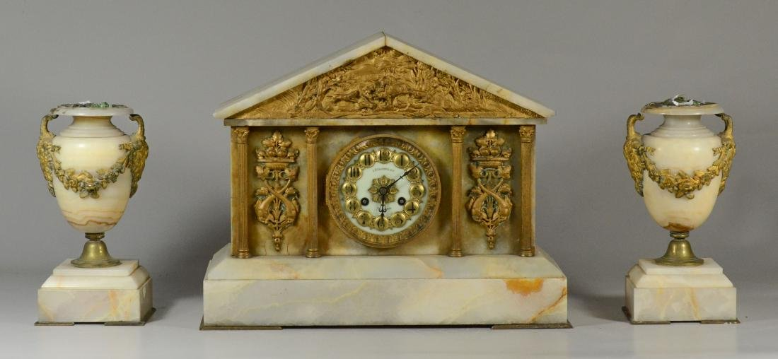 3 pc French gilt metal mounted and onyx clock set