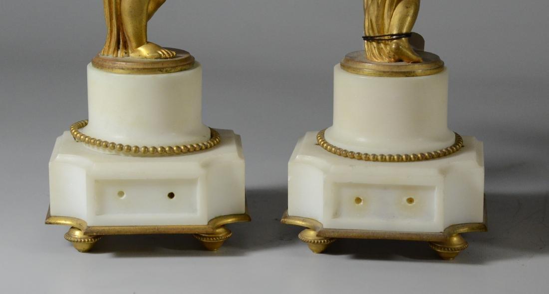 3 pc French gilt metal & alabaster clock set - 10