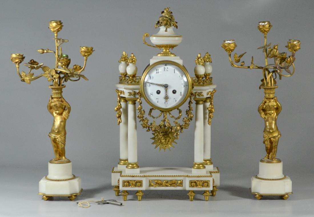 3 pc French gilt metal & alabaster clock set