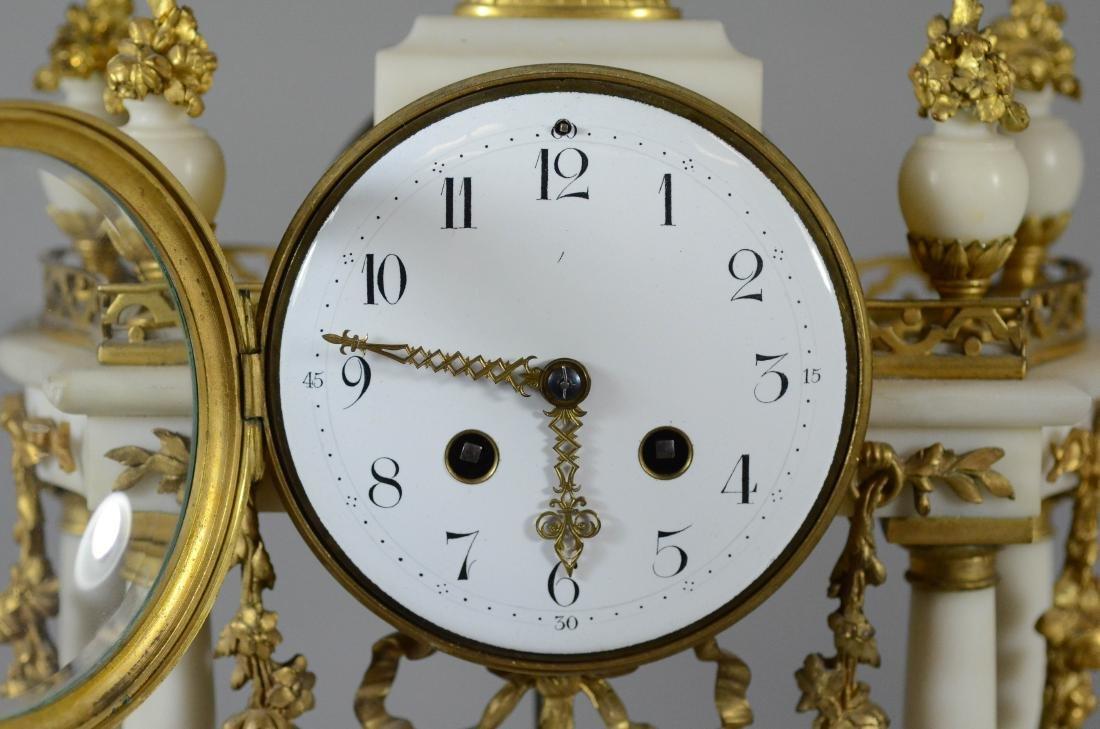 3 pc French gilt metal & alabaster clock set - 2