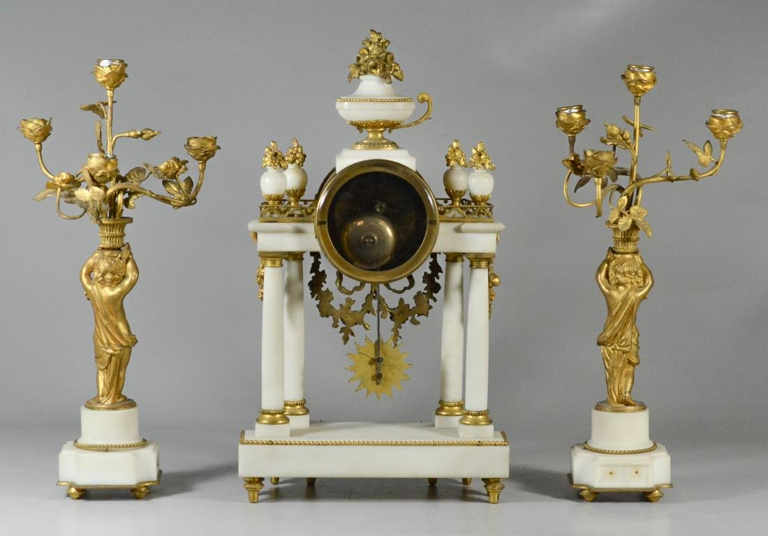 3 pc French gilt metal & alabaster clock set - 3