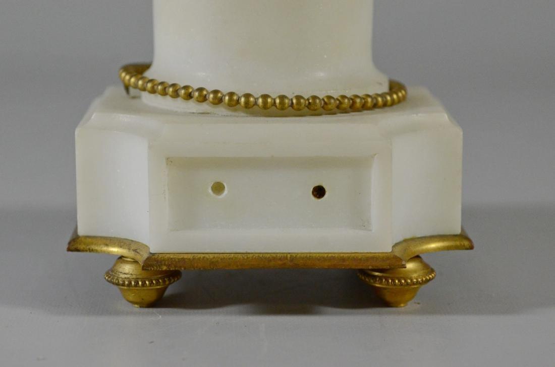 3 pc French gilt metal & alabaster clock set - 6