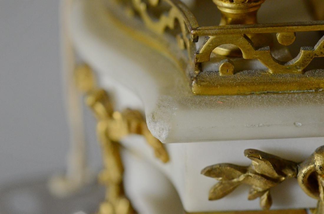 3 pc French gilt metal & alabaster clock set - 7