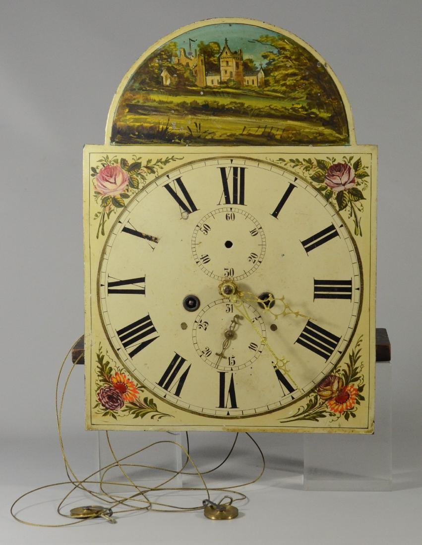 Brass 8 day tall clock movement, painted dial