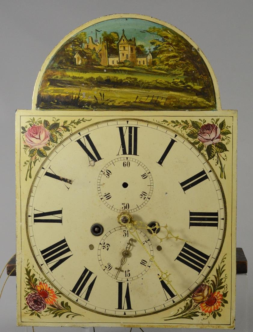 Brass 8 day tall clock movement, painted dial - 2