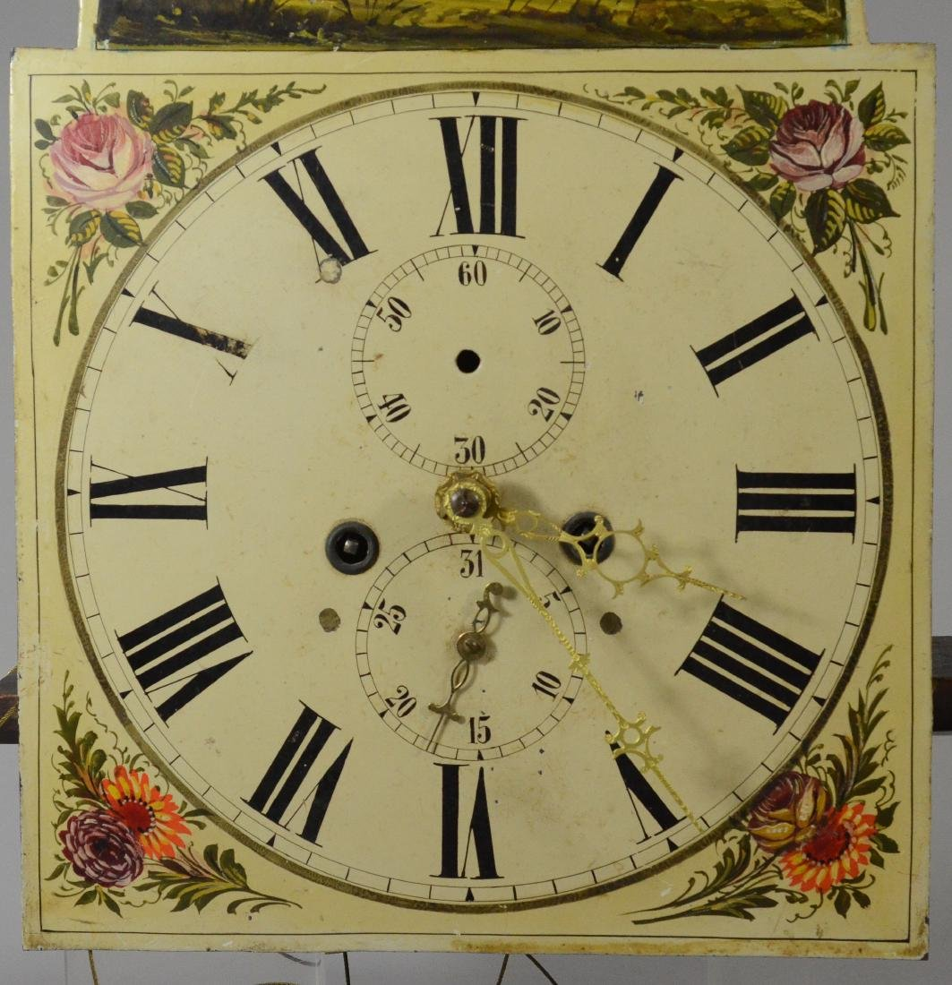 Brass 8 day tall clock movement, painted dial - 4
