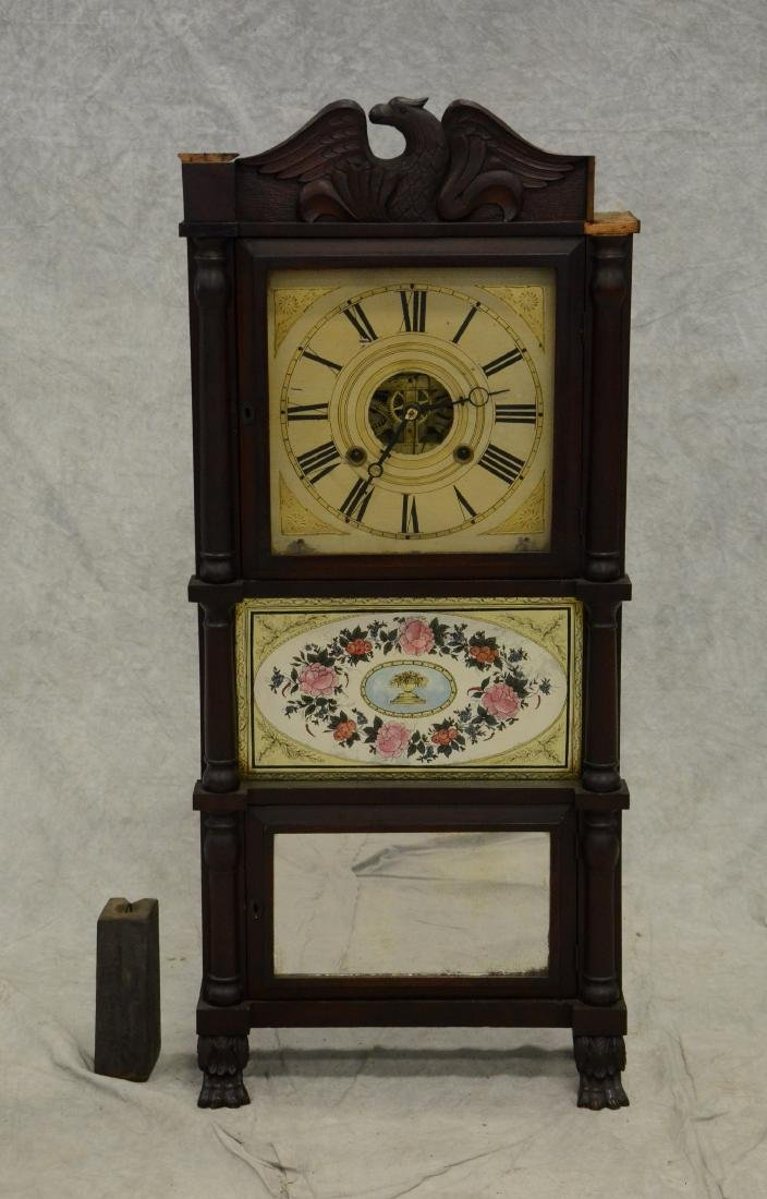 Birge Mallory & Company Carved Mahogany Shelf Clock