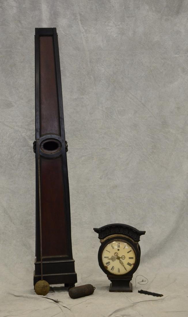 Regency Mahogany Floor Clock; long slender pedestal