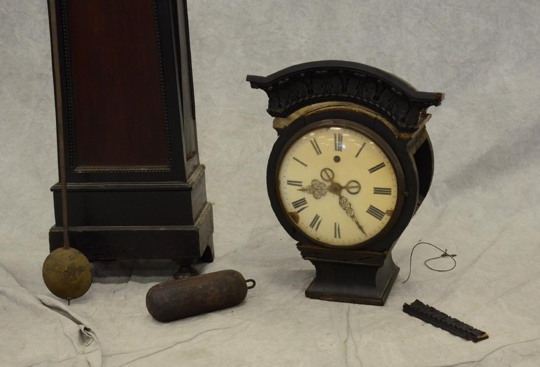 Regency Mahogany Floor Clock; long slender pedestal - 2