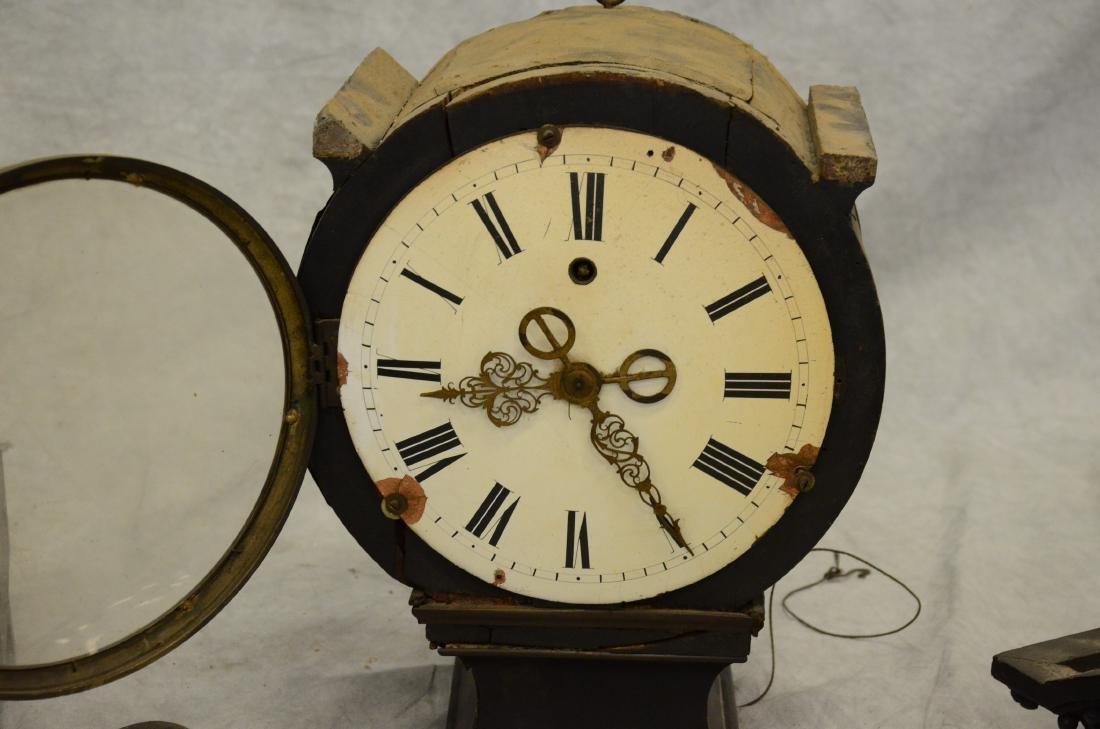 Regency Mahogany Floor Clock; long slender pedestal - 3