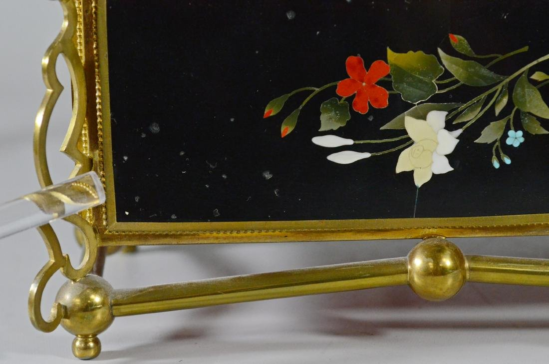 Victorian brass and pietra dura hinged trinket box - 10