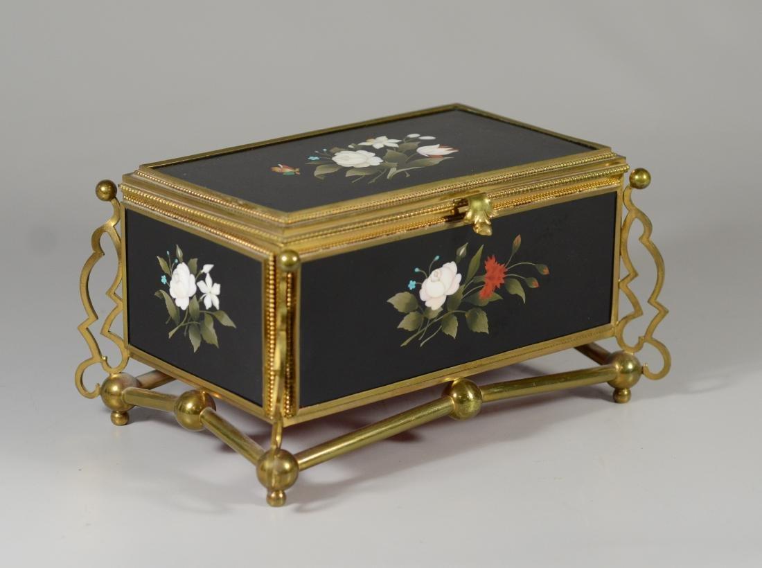 Victorian brass and pietra dura hinged trinket box