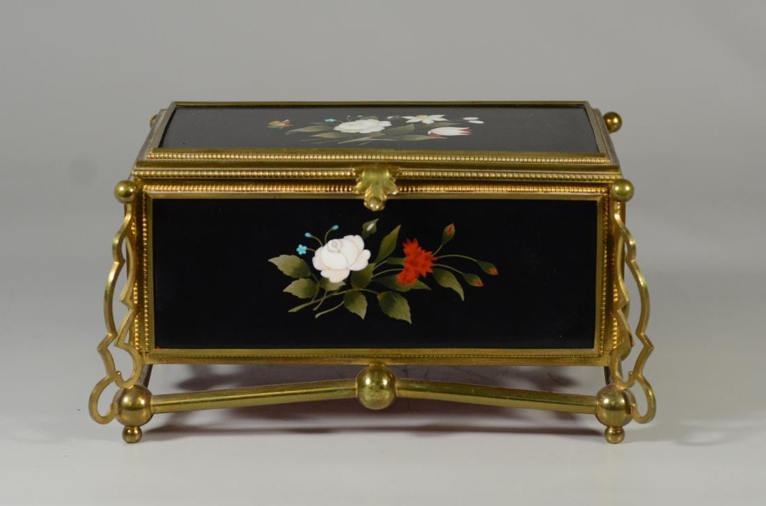 Victorian brass and pietra dura hinged trinket box - 2