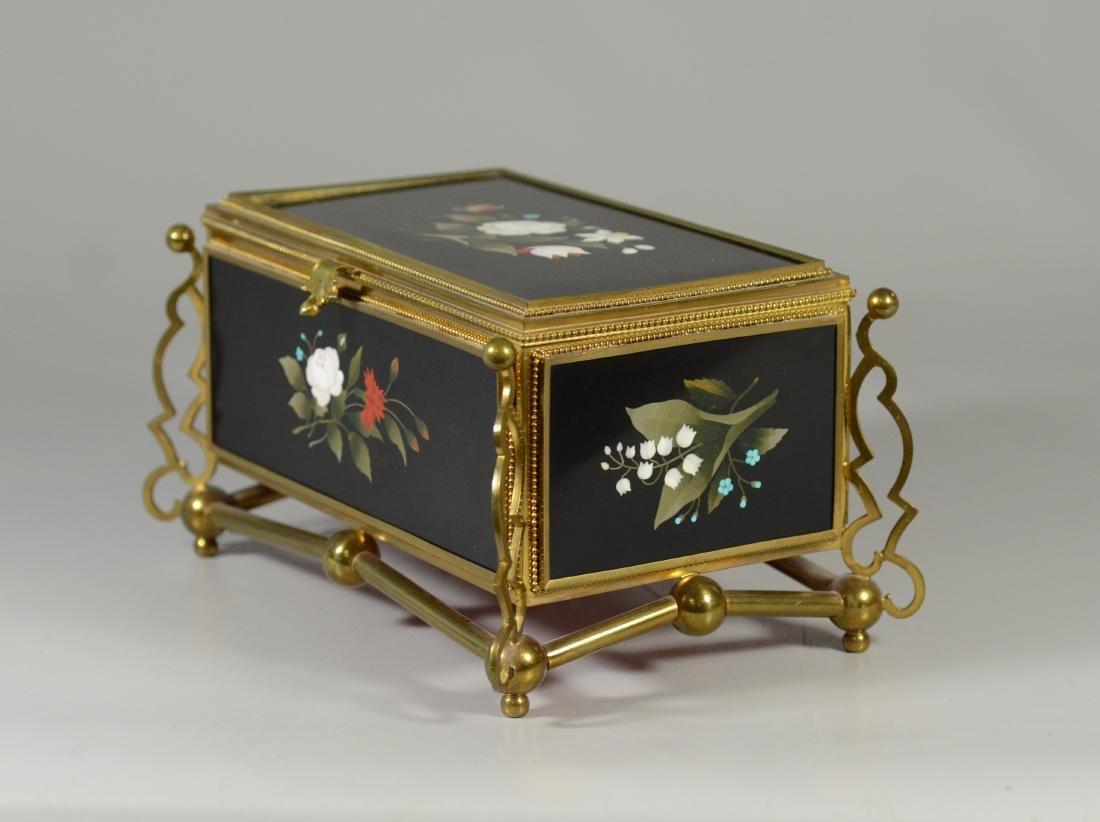 Victorian brass and pietra dura hinged trinket box - 3