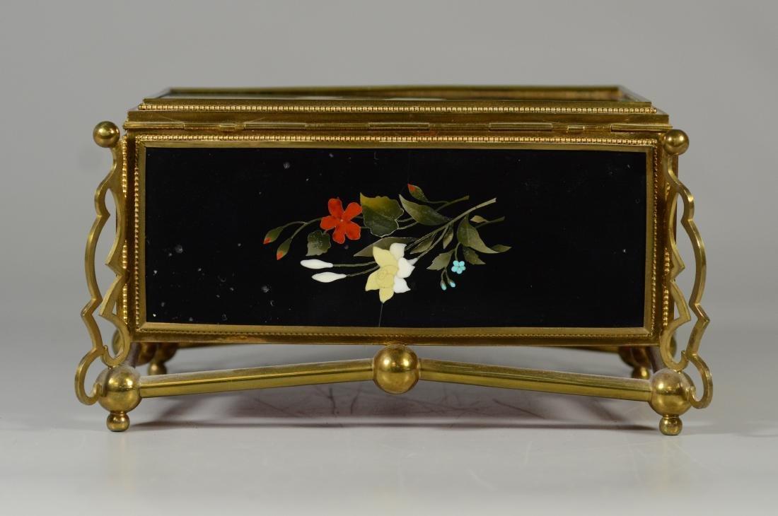 Victorian brass and pietra dura hinged trinket box - 4