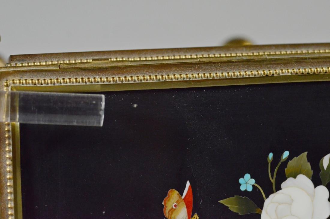 Victorian brass and pietra dura hinged trinket box - 6