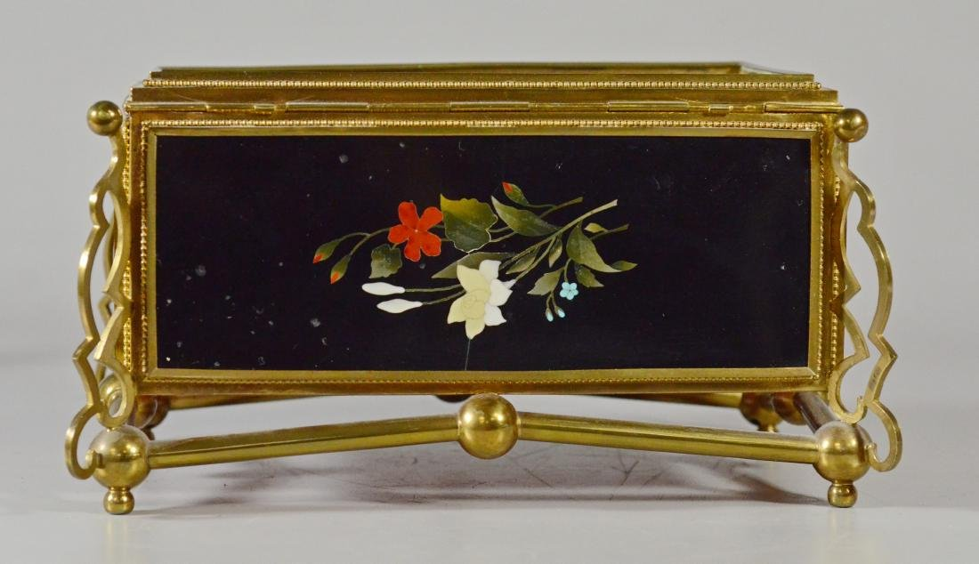 Victorian brass and pietra dura hinged trinket box - 9