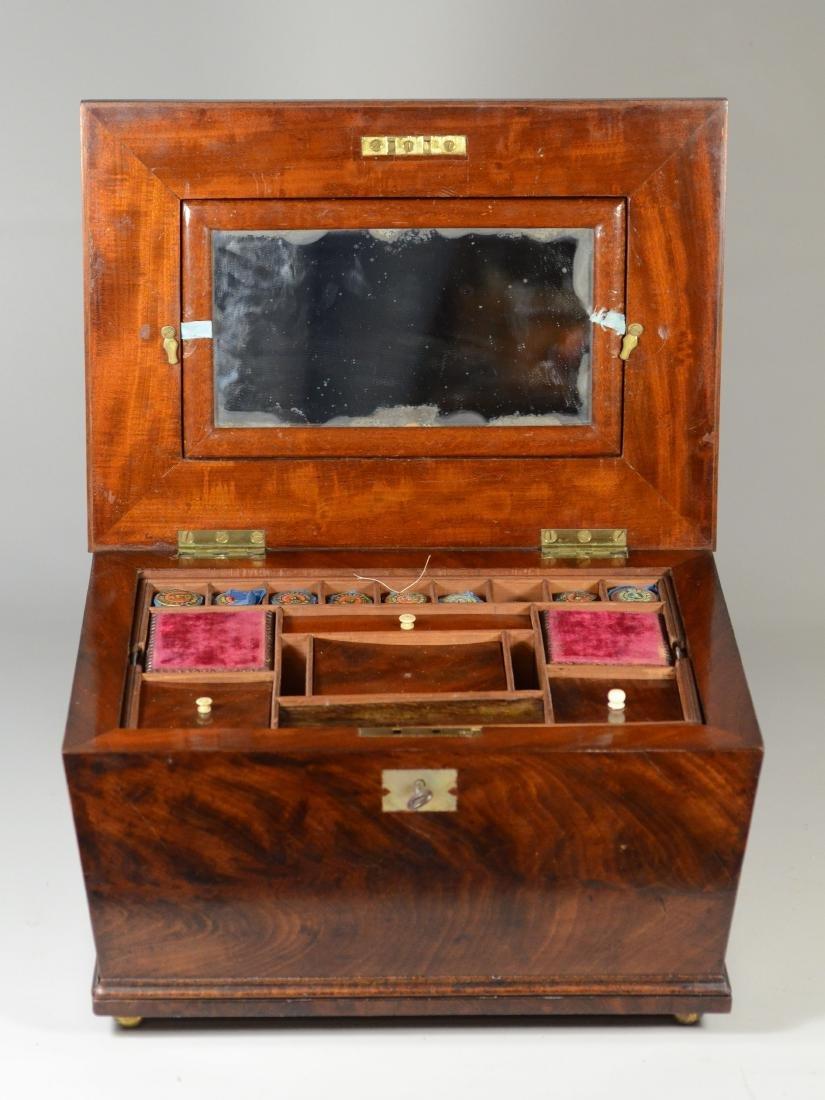 Mahogany sarcophagus form sewing box - 7