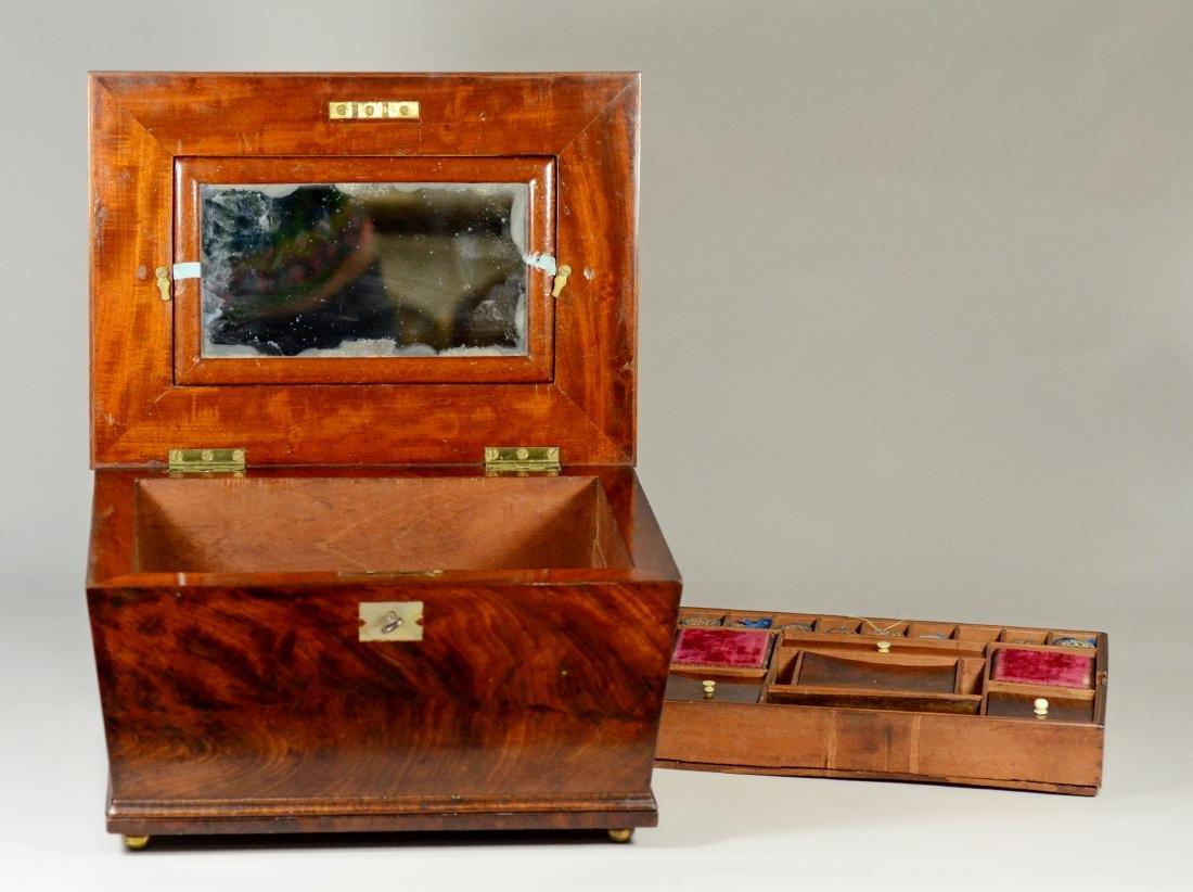 Mahogany sarcophagus form sewing box - 8