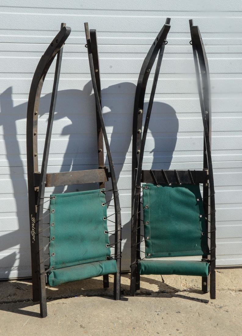 """(2) Bridge Luges, wood frames, green seats, 55""""l"""