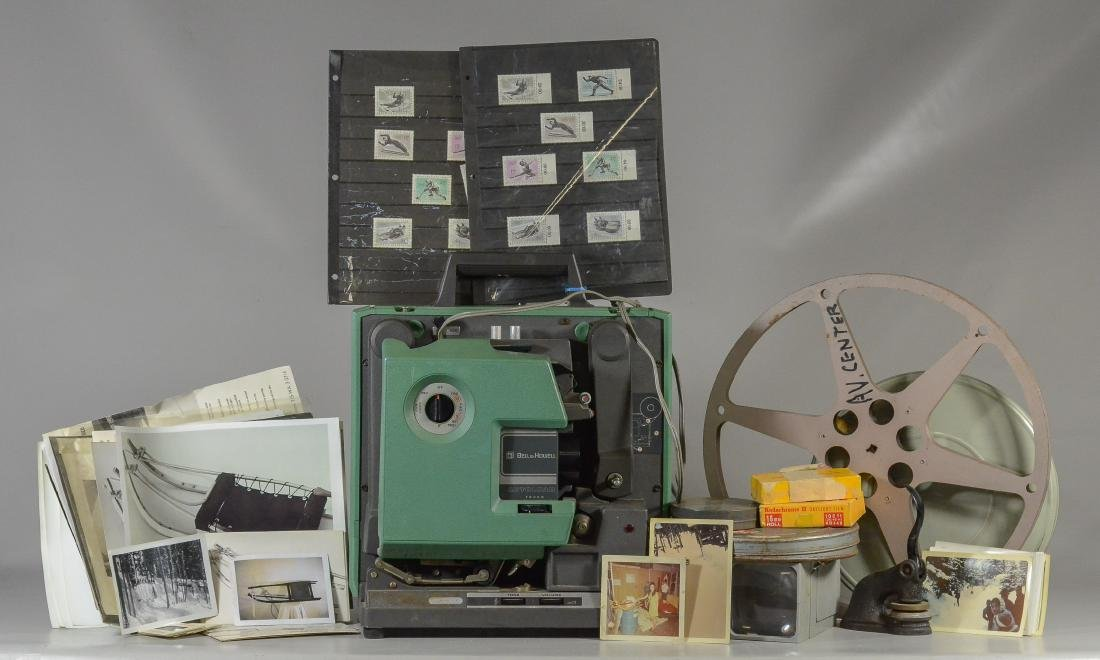 16mm projector and film of 1964 Olympic Luge races