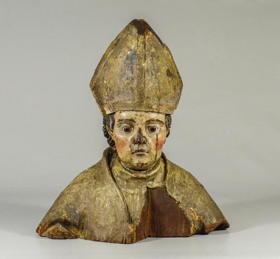 Carved and Painted Wooden Bust of a Papal Bishop