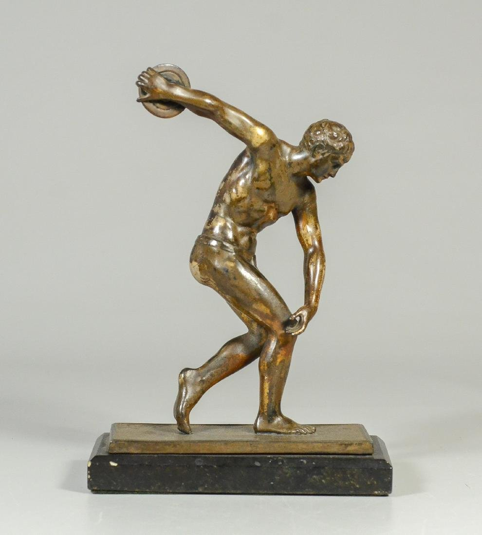 Unsigned Bronze Sculpture of a Discus Thrower