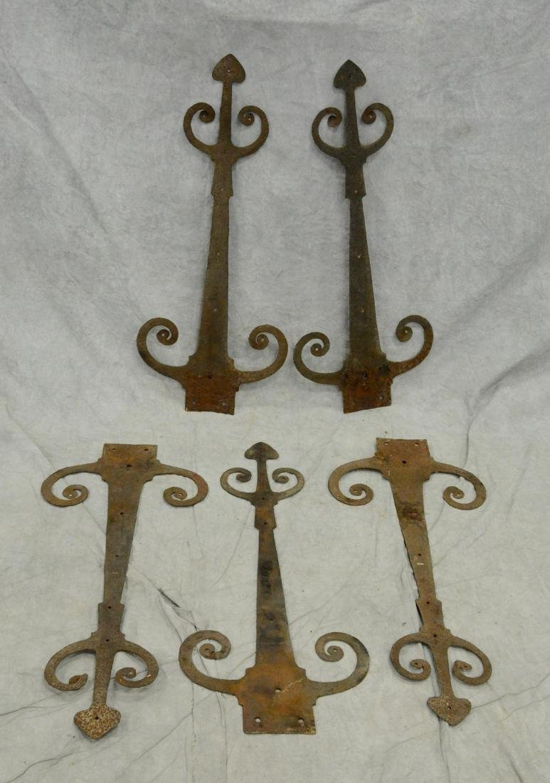 """(5) Hand wrought ram's horn strap hinges; 31"""" long"""